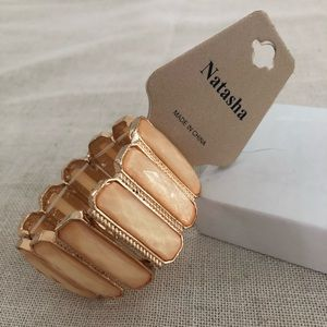 New Natasha Bracelet Peach and Gold stretch